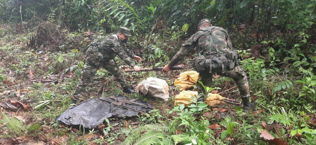 El hallazgo se produjo gracias a la información suministrada por la Red de Participación Cívica, en zona rural del municipio de San Francisco, Antioquia.